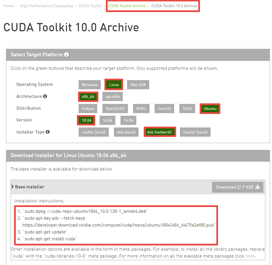 How did I install CUDA 10 0 and the latest NVIDIA driver to